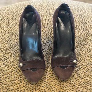 Brown suede Gucci loafer heels